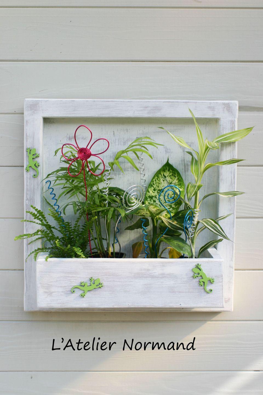 Cadre Floral Décoratif Blanc Patiné Gris Souris 40 X 40cm