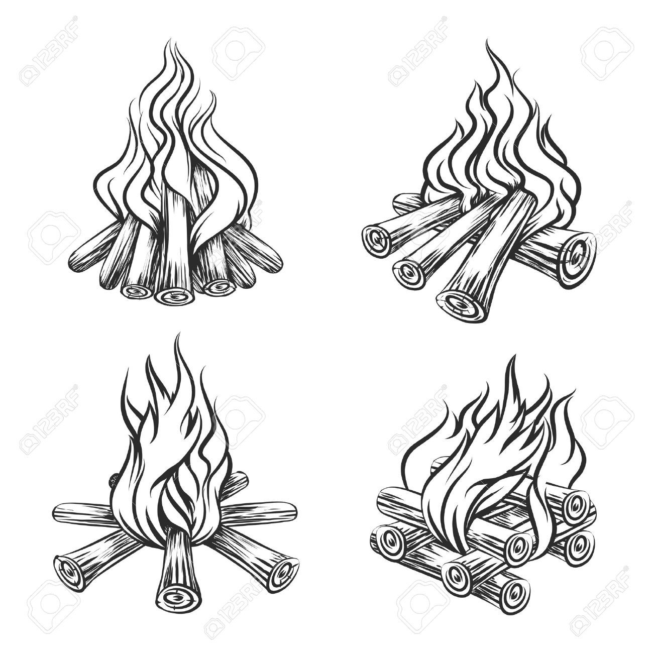 Hand Drawn Vector Bonfire Set Flame And Burn Firewood Energy How To Draw Hands Fire Drawing Fireplace Drawing
