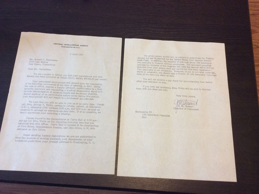 1957 CENTRAL INTELLIGENCE AGENCY CIA 2-page job offer letter - job offer