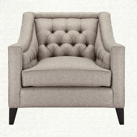 "Upholstered Chairs For Living Room rylan 35"" upholstered tufted chair in taranto dove | living rooms"