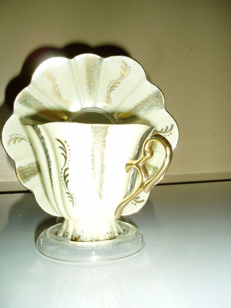 Stafford green lustre tea cup and saucer vintage set