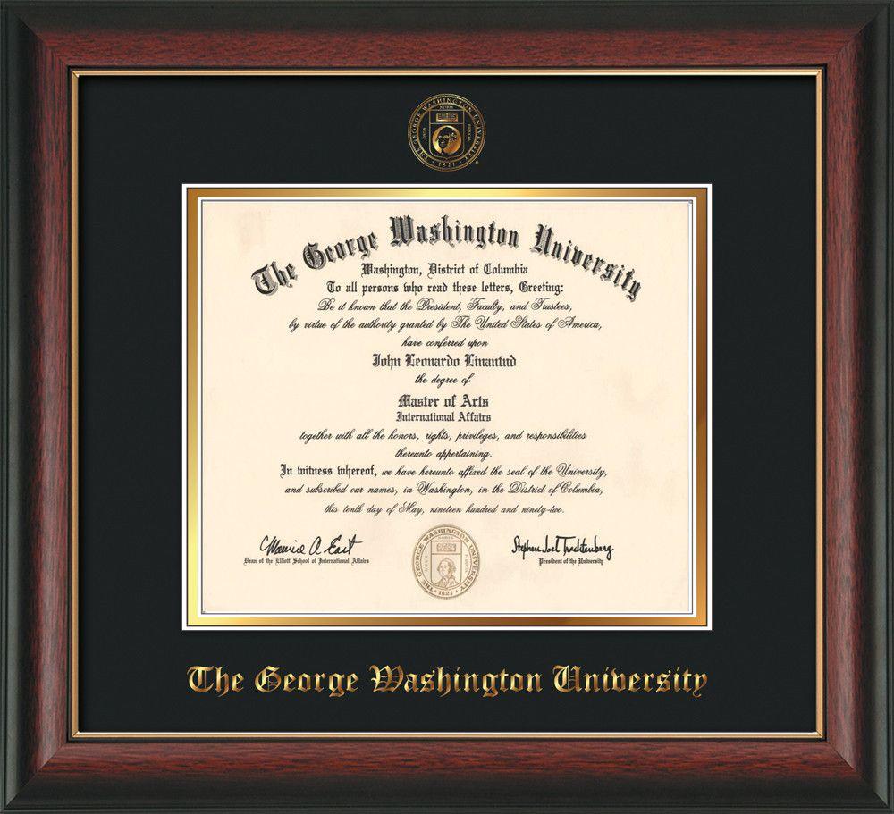 George Washington University Diploma Frame - Rosewood w/Gold Lip - w ...