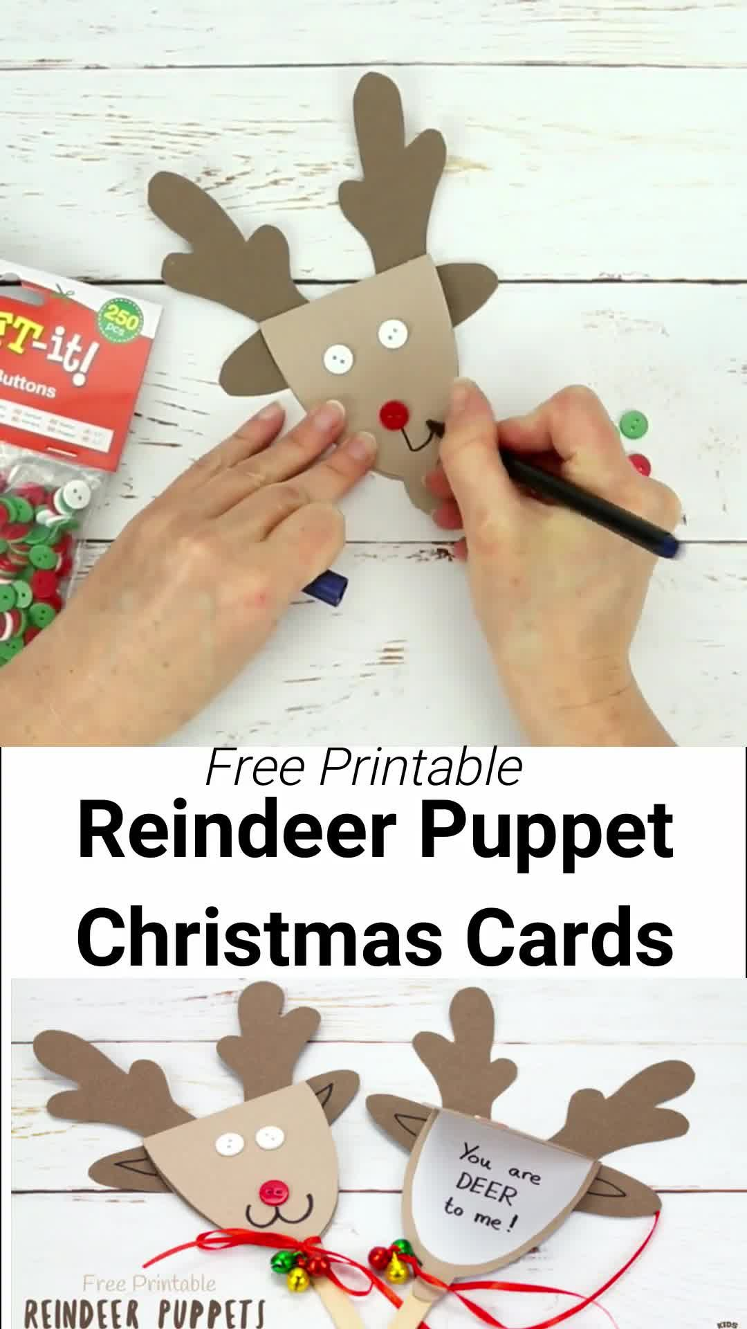 REINDEER PUPPET CHRISTMAS CARDS - These Rudolf Puppets are so fun! This reindeer craft doubles up to be a surprise Christmas card craft so they're perfect for sharing festive cheer to friends and family too! A Christmas craft for kids that they can play with too!  #kidscraftroom #Christmascrafts #Christmascraftideas #kidscrafts #reindeer #Rudolf #reindeercrafts #rudolfcrafts #puppets #puppetcrafts #chistmaspuppets #greetingcards #Christmascards #Christmas