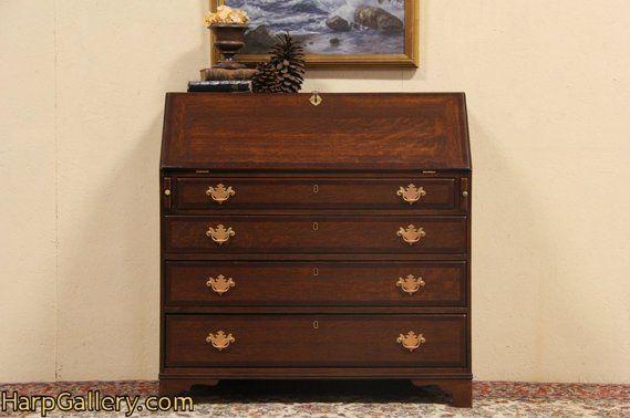 Secretary Desk, Banded Oak 1800 New England Antique - Harp Gallery Antique  Furniture - Secretary Desk, Banded Oak 1800 New England Antique - Harp Gallery