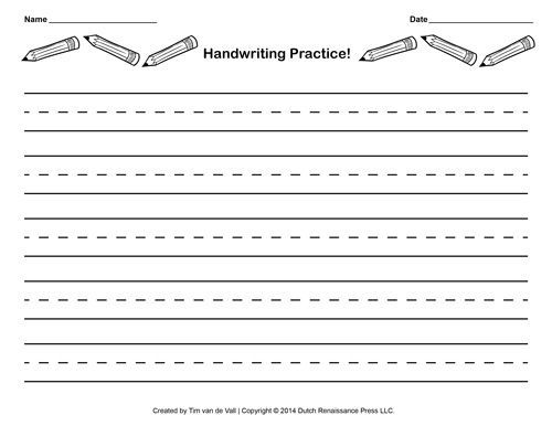 Lined Writing Paper For Kids With Borders Handwriting Practice
