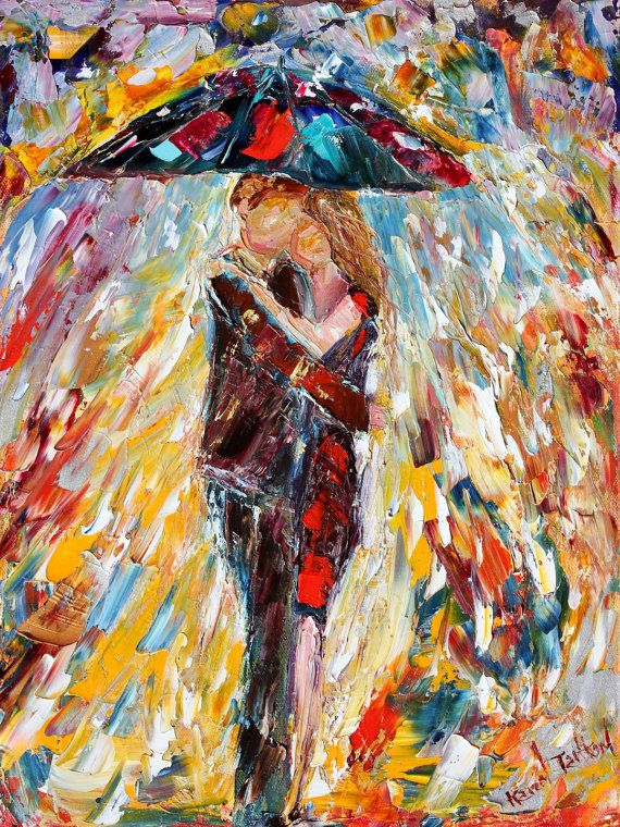 Rain Embrace couple oil on canvas Landscape by Karensfineart