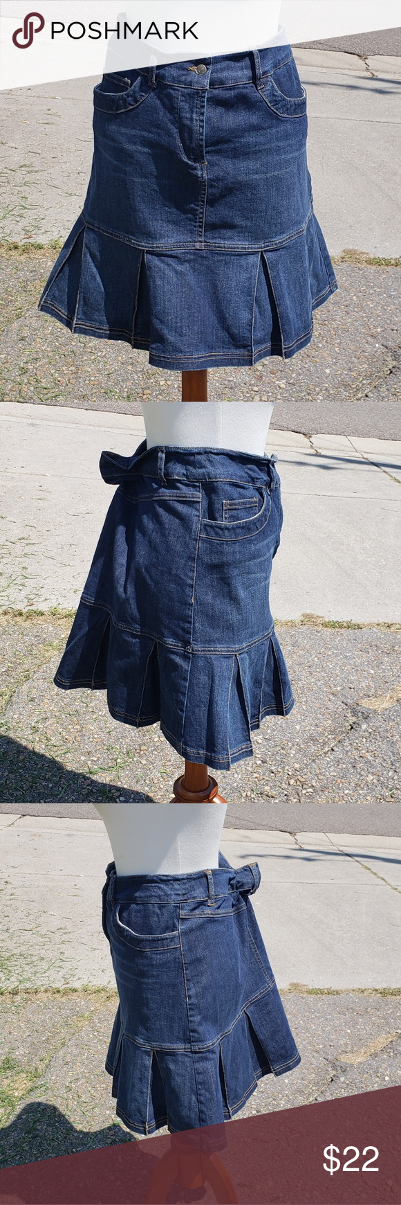 Harold's Blue Jean Mini Tennis/Cheerleader Skirt Harold's blue jean skirt with tennis/cheerleading skirt pleats. Two pockets at the front waist. Zipper and button fly. Has belt loops. 98.2% cotton, 1.8% elastic.  Measurements are approximate and in inches while laying flat. Length-18, Waist-16 Harold's Skirts Mini #18inchcheerleaderclothes Harold's Blue Jean Mini Tennis/Cheerleader Skirt Harold's blue jean skirt with tennis/cheerleading skirt pleats. Two pockets at the front waist. Zipper and bu #18inchcheerleaderclothes