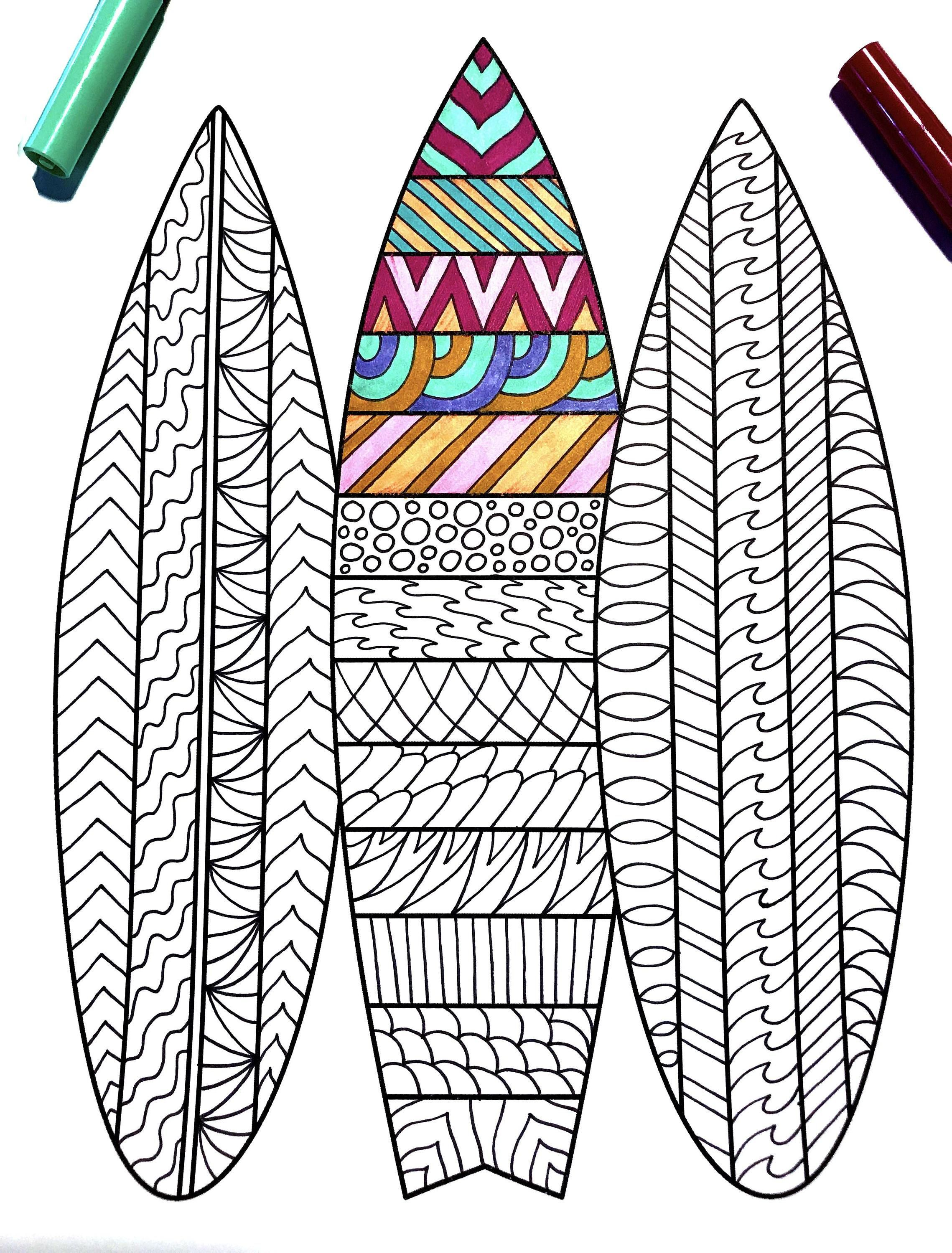 Surfboards Pdf Zentangle Coloring Page Scribble Stitch Coloring Pages Surfboard Art Design Surfboard