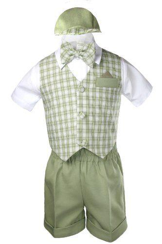 Unotux Baby Boy Formal Black Gingham Checks Vest Bow Suits Shorts Sets Hat 2T-4T