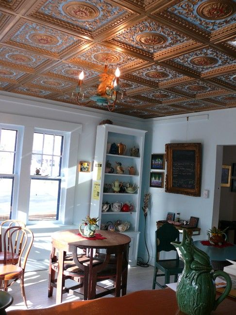 Copper Ceiling Tiles  Willow River Gallery & Cafe  Vc02 Gold Stunning Willow Dining Room Menu Design Inspiration