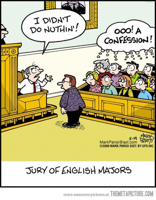 Humor Free Jokes Aid In Laughter Study >> Jury Of English Majors Funny Grammar Humor Grammar Jokes