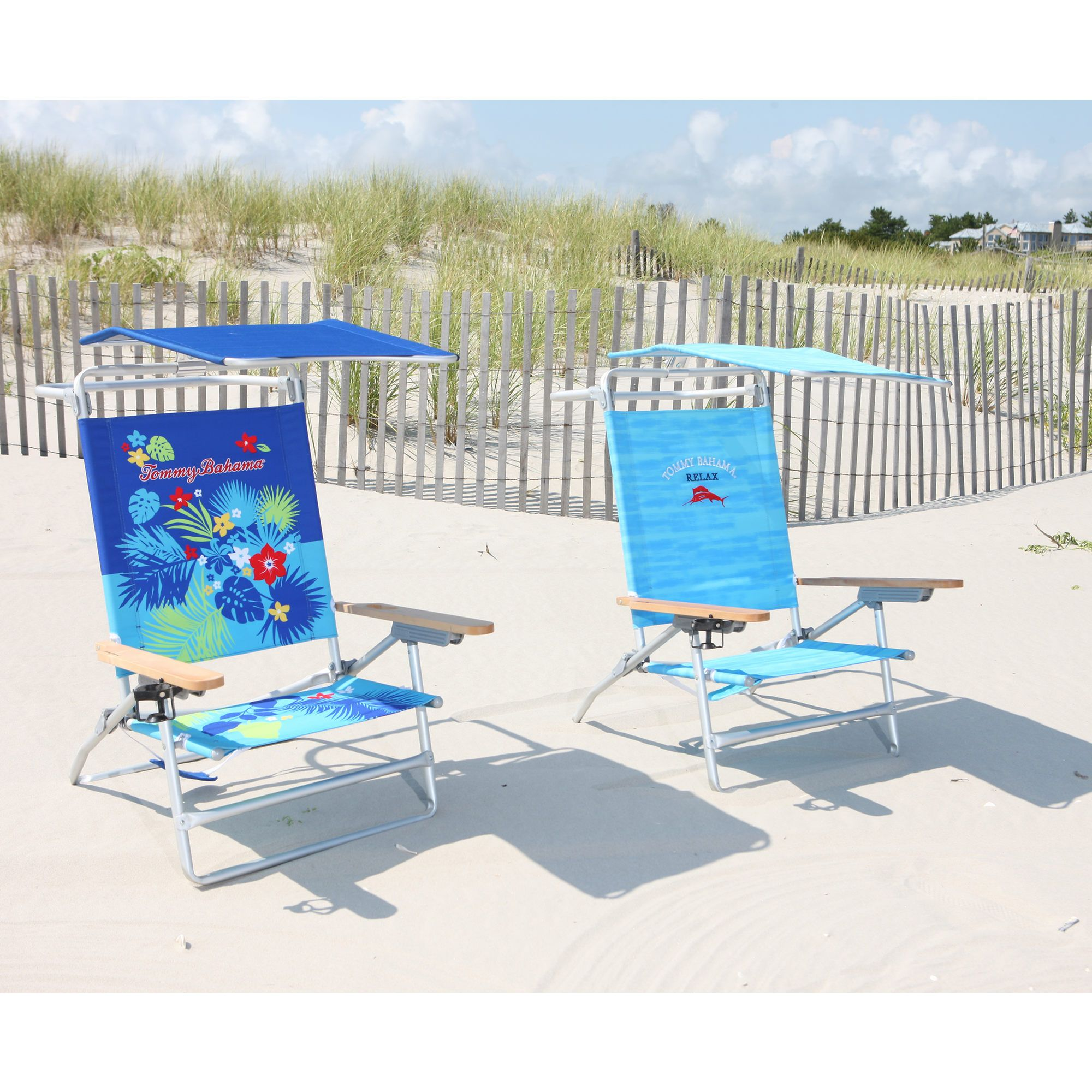 Tommy Bahama Deluxe Oversized Beach Chair With Canopy Assorted