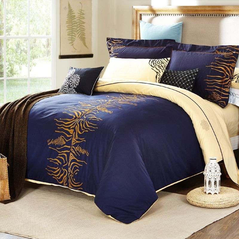 navy blue camel and gold tiger stripe shabby chic luxury unique embroidered design egyptian cotton full queen size bedding sets