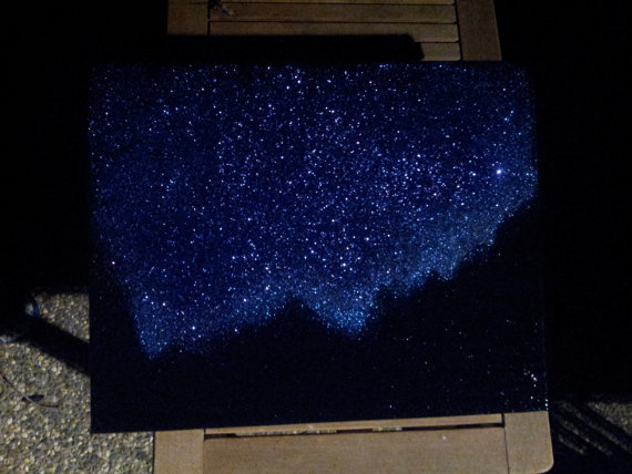 Night Sky Twinkling Stars Mountains Landscape By Glitterbombart 120 00 Sky Painting Night Sky Painting Mountain Painting Acrylic