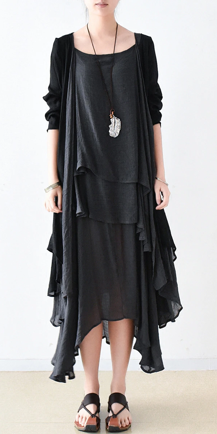Fall Black Cotton Dresses Flowy Cardigan With Asymmetrical Layered Dress Inside Two Pieces Flowy Cardigans Cotton Dresses Black Cotton Dresses [ 1400 x 700 Pixel ]
