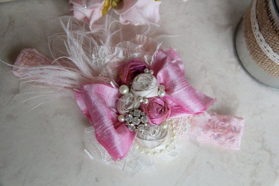 Hey, I found this really awesome Etsy listing at https://www.etsy.com/listing/175821857/baby-headband-pink-shabby-chic-vintage