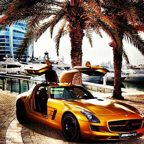 Golden Mercedes SLS AMG