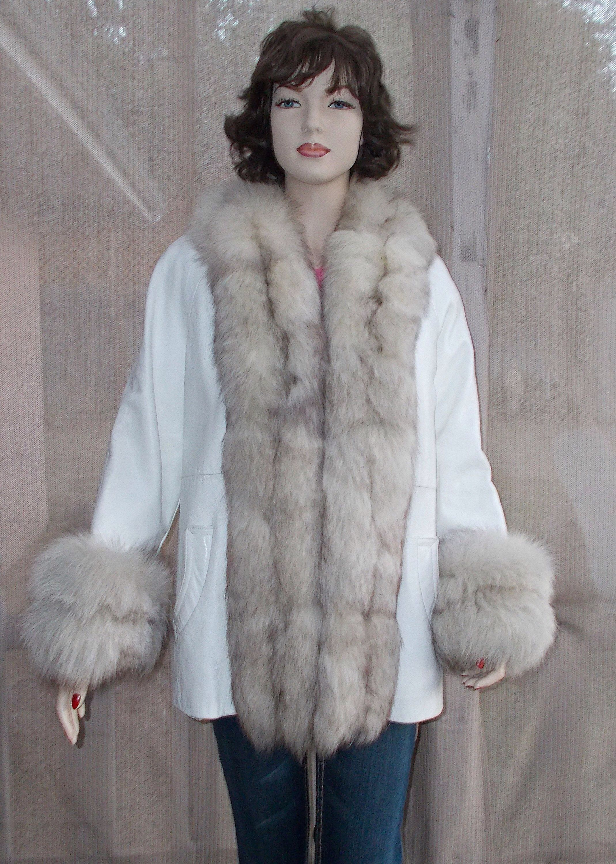 Vintage 70's Silver Gray Real Fox Fur White Leather Winter