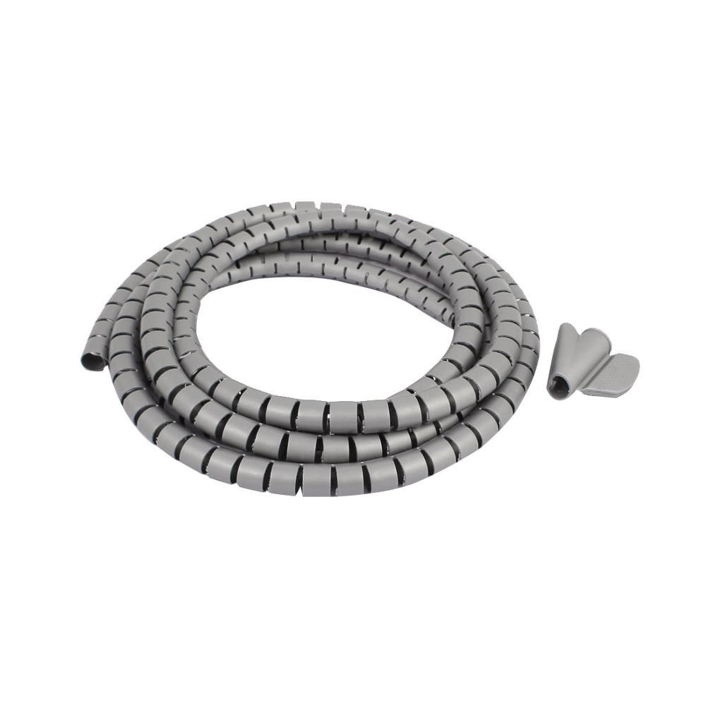 2M Length Black Grey 10mm Spiral Wire Organizer Wrap Tube Flexible ...