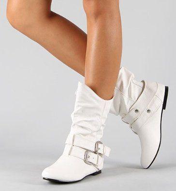5b63b4b34b2a7 Amazon.com: TRENDY Buckle White Flat Boots Mid-Calf Womens 10: Shoes ...