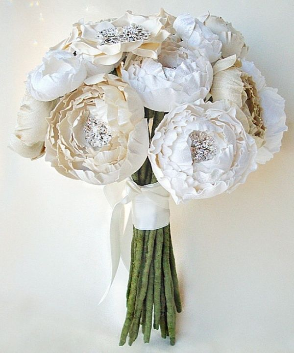 Luxurious Silk Flower Bridal Bouquet In White And Cream Perfect For The Bride Allergic To Flowers Or Just Looking A Different Look