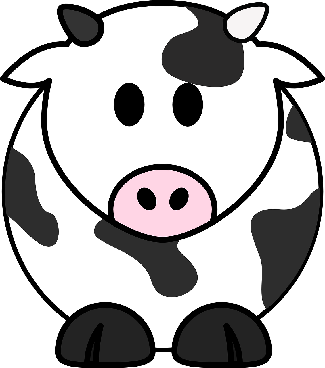 milk cow cow cattle black white moo cartoon cute [ 1130 x 1280 Pixel ]