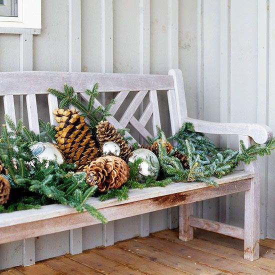 Outdoor Christmas Decorating Ideas Mercury Glass Pinecone And