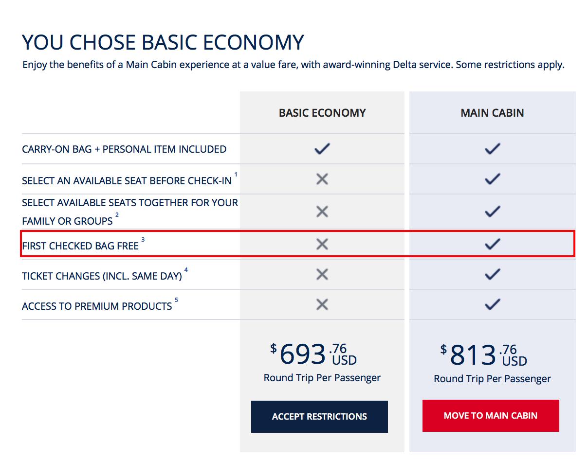 Checked Bag On Transatlantic FlightsDelta Basic Economy