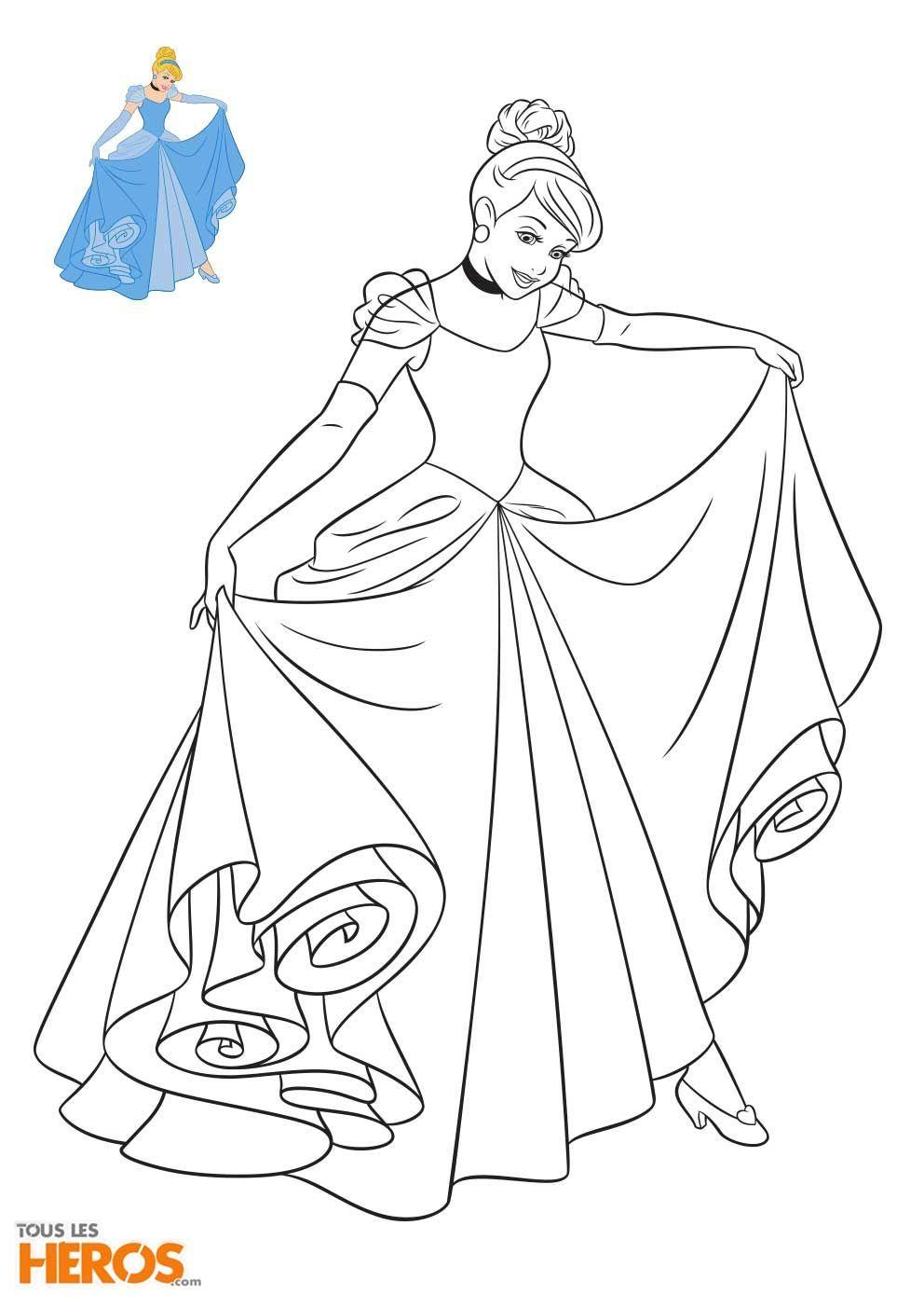 Coloriage Princesses Disney à Imprimer in 8  Cinderella