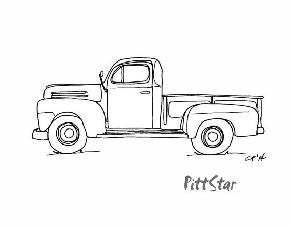 Instant Download - Vintage 1940\'s Pickup Truck - Printable Coloring ...