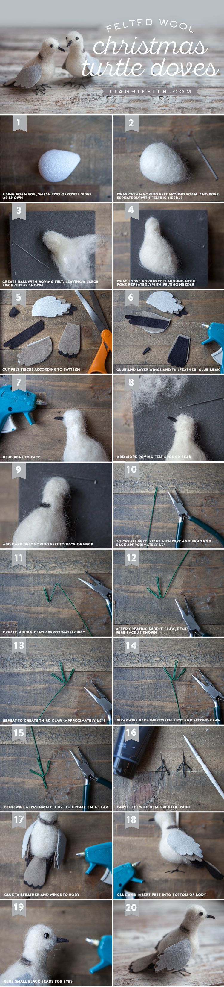 Felted Turtle Doves ptacci3 Pinterest