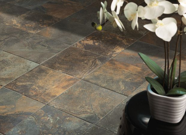 kendal slate photo features carlisle black 12 x 12 on the floor in a grid pattern - Bathroom Tiles Kendal