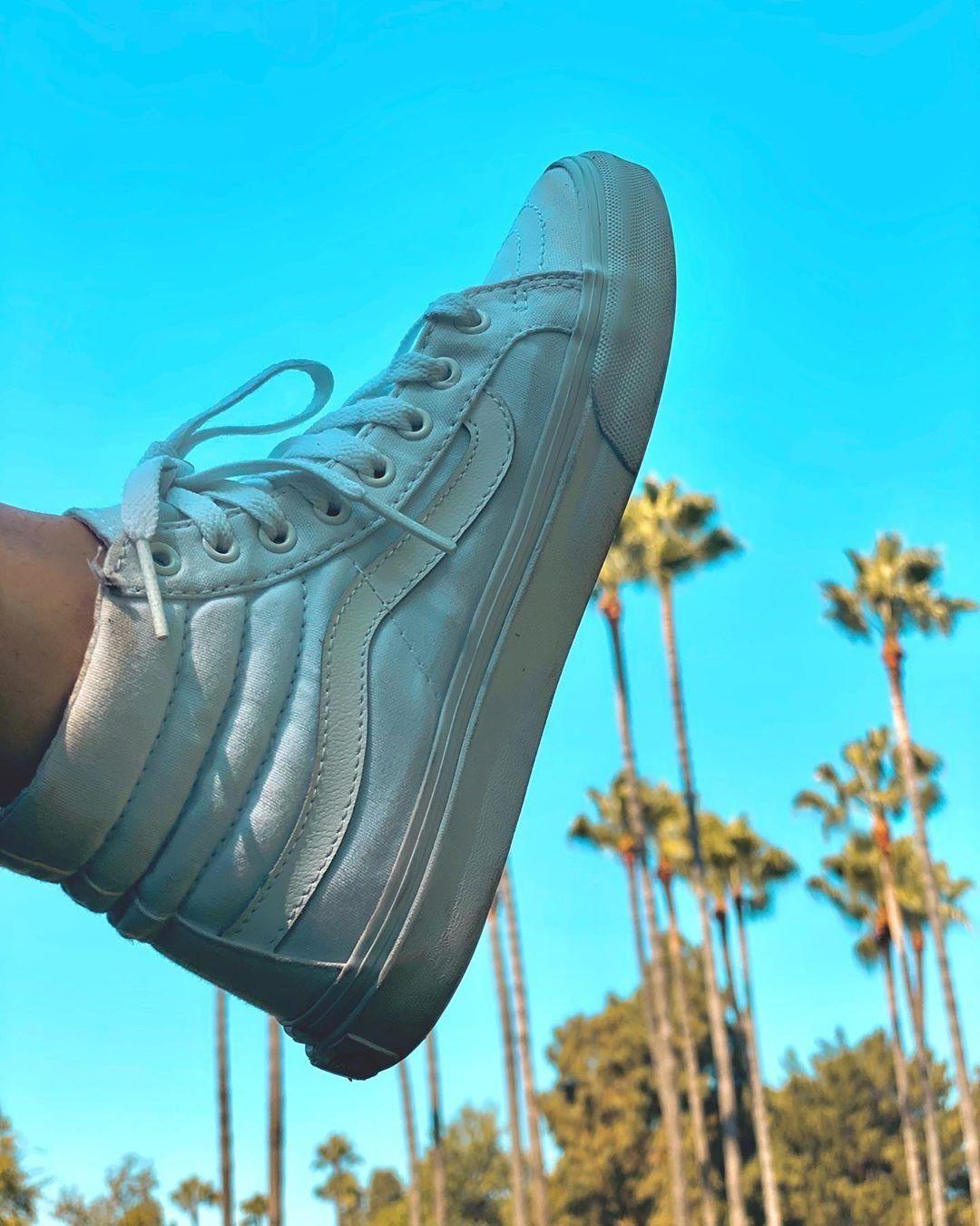 Vans Sk8 Hi Skate Shoe - White in 2020