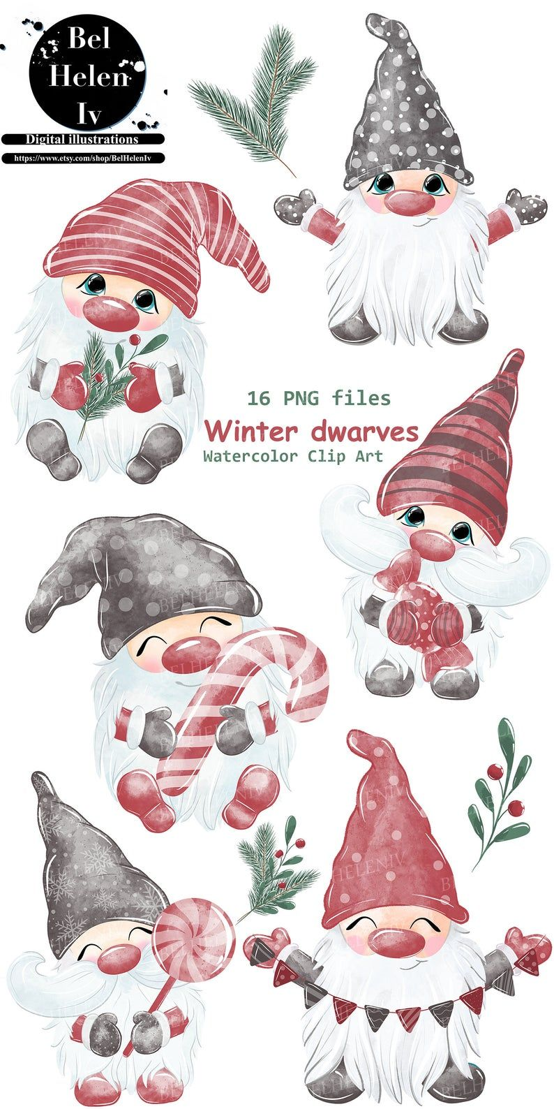 Christmas Gnomes Clipart Watercolor Gnomes Clipart Nordic Etsy In 2020 Christmas Sketch Holiday Artwork Christmas Art