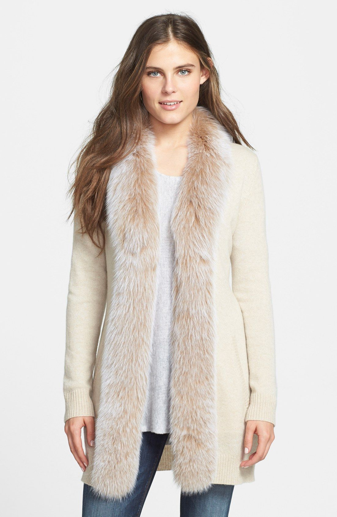 Women's Sofia Cashmere Genuine Fox Fur Trim Cashmere Cardigan ...