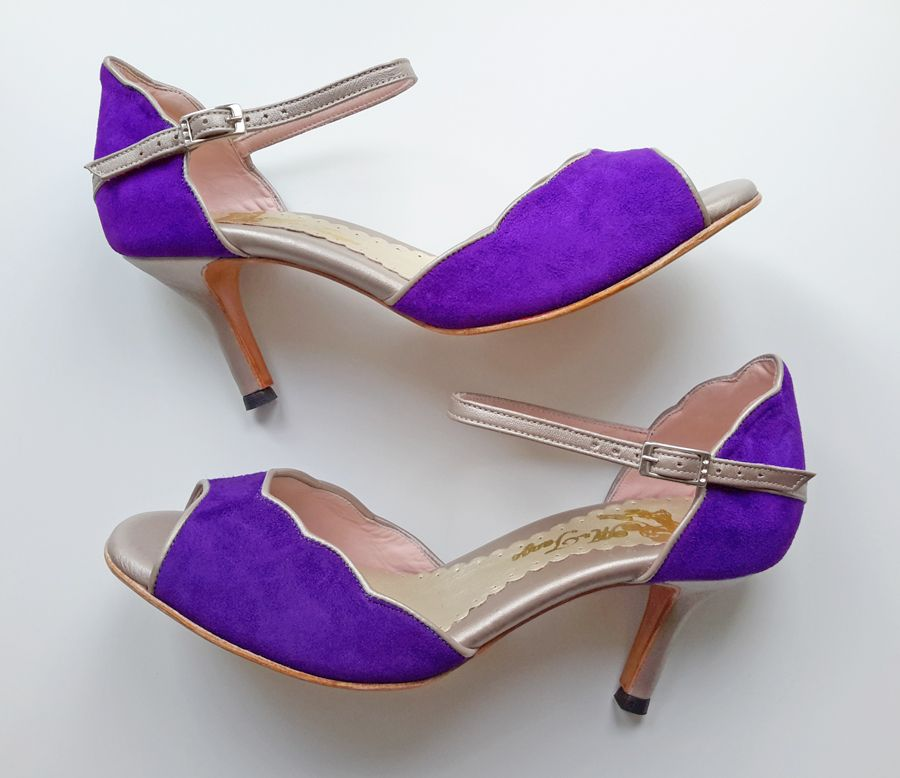 Carolina By Mr Tango Shoes In Purple Suede And Champagne