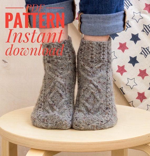 Knitted Gray Socks Pattern Knit Pdf File Cable Socks Boot Socks