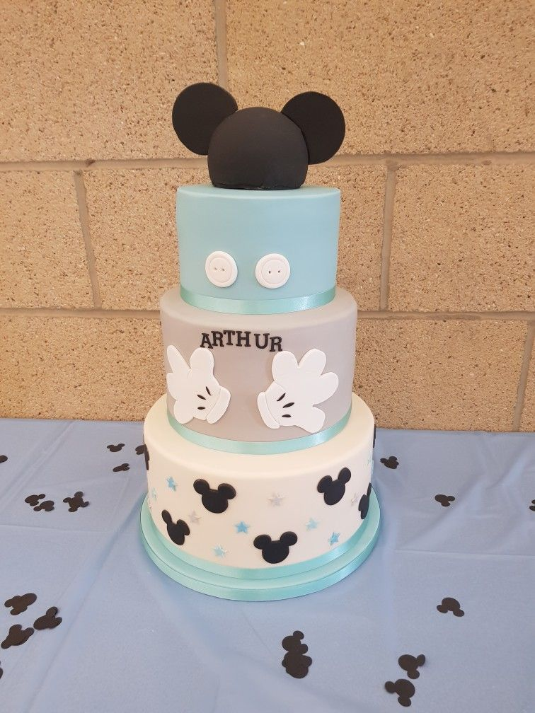 Outstanding Blue And White Prince Mickey Mouse Cake For Christening Mickey Personalised Birthday Cards Sponlily Jamesorg