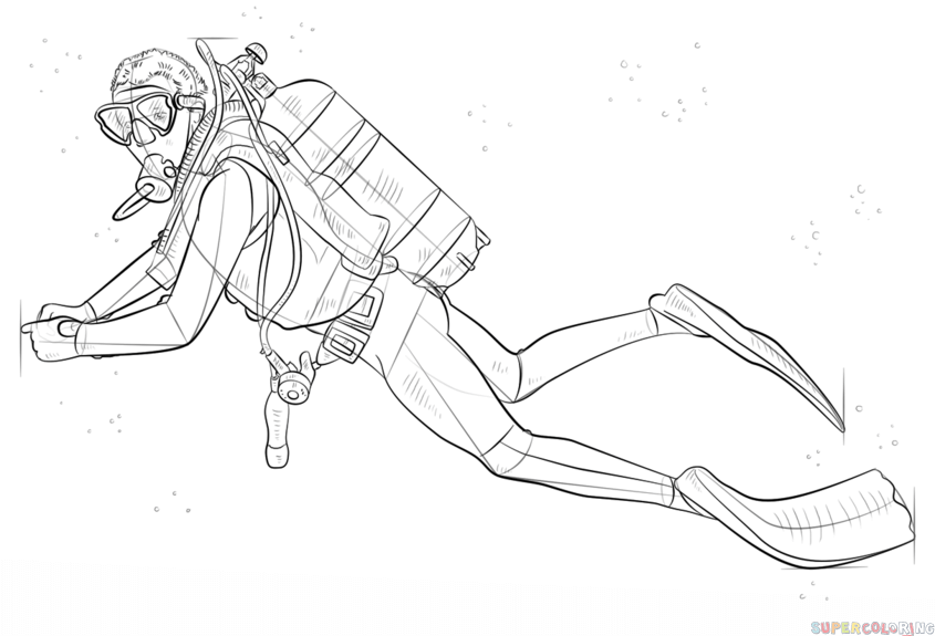 How to draw a scuba diver step by step drawing tutorials for Scuba diver coloring page