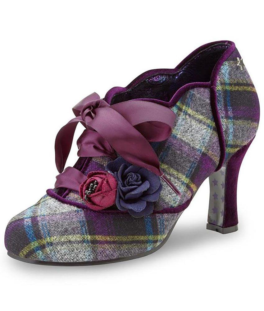 Joe Browns Yazzabelle Retro Tweed Shoe Boots Tartan Shoes Lace Up High Heels Joe Browns