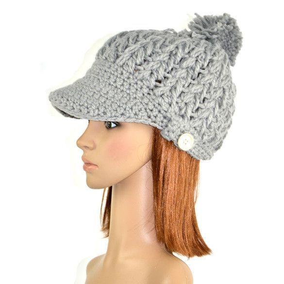 45438dafdbe Women s Wool Winter Hat Thick line hat Ball Cute Hat Warm Flight Hat Peaked  Cap Peaked