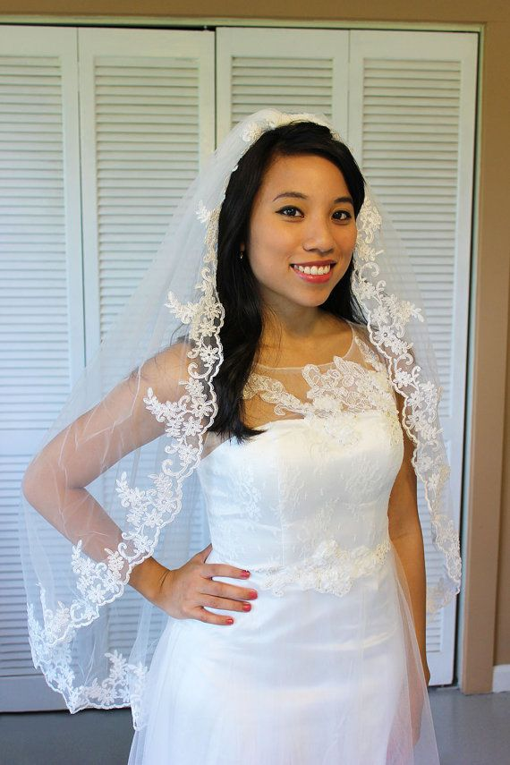 Lace Elbow Length Wedding Veil Diamond White One Tier Fingertip With Attached Comb
