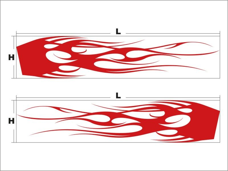 N3062 Vinyl Car Graphics Custom Tribal Flames Racing Stripes Body