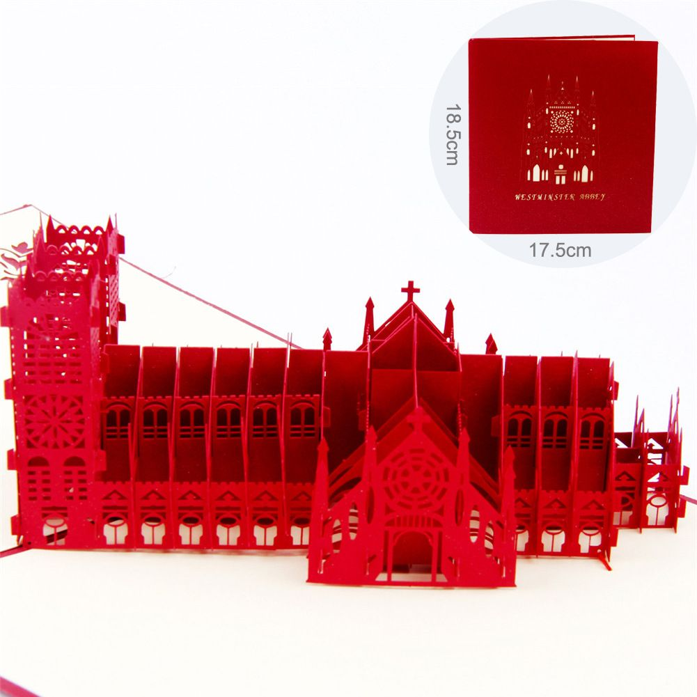 1 PC 3D Greeting Cards Thanksgiving Card Church Shaped Wedding Cards ...