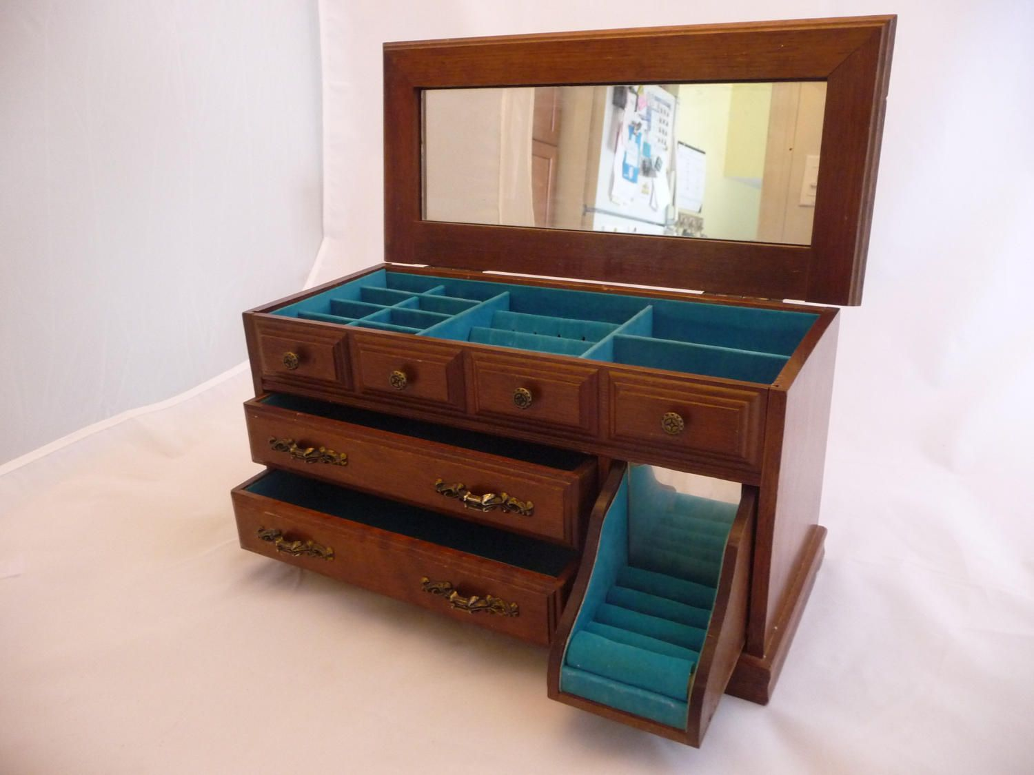 Wooden Musical Jewelry Box By Gunther Mele Turquoise Velvet Lining