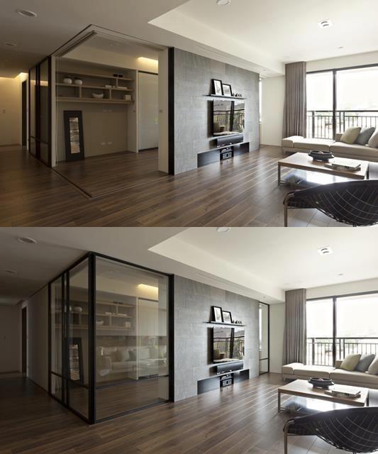 Spare Interior Space Designs: Apartment With A Retractable Interior Wall