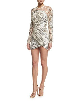Sequined+Star-Embroidered+Minidress,+White+by+Elie+Saab+at+Neiman+Marcus.