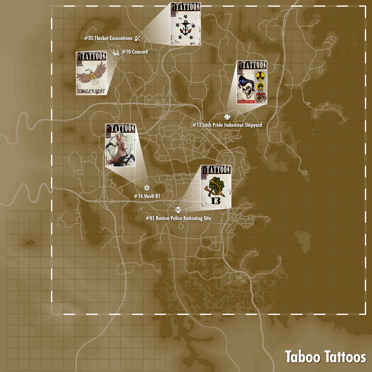Taboo Tattoos locations | Video Games | Fallout 4 locations, Fall ...