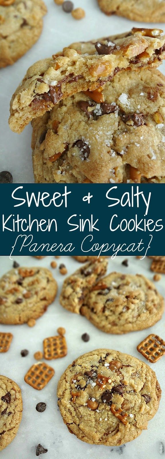 Sweet & Salty Kitchen Sink Cookies {Panera Copycat}        Sweet & Salty Kitchen Sink Cookies {Panera Copycat},Clone Recipes  Sweet & Salty Kitchen Sink Cookies {Panera Copycat}-a recipe for giant, chewy, cookies with pretzels, caramel bits, and chocolate chips. SO GOOD!     #Baking recipes #Cake recipes #Cheesecake recipes #Cookie recipes #Cookies #Copycat #Desserts #Easy dessert recipes #Kitchen #Panera #Salty #Sink #sweet
