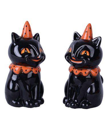 Loving this Black Cat Salt  Pepper Shaker - Set of Two on #zulily - halloween decorations black cat